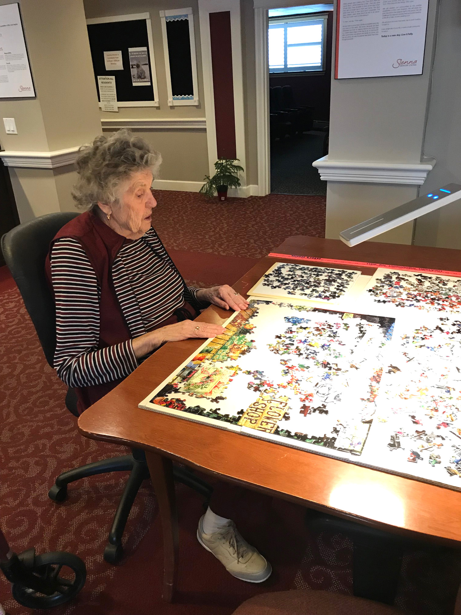 A resident doing a puzzle.