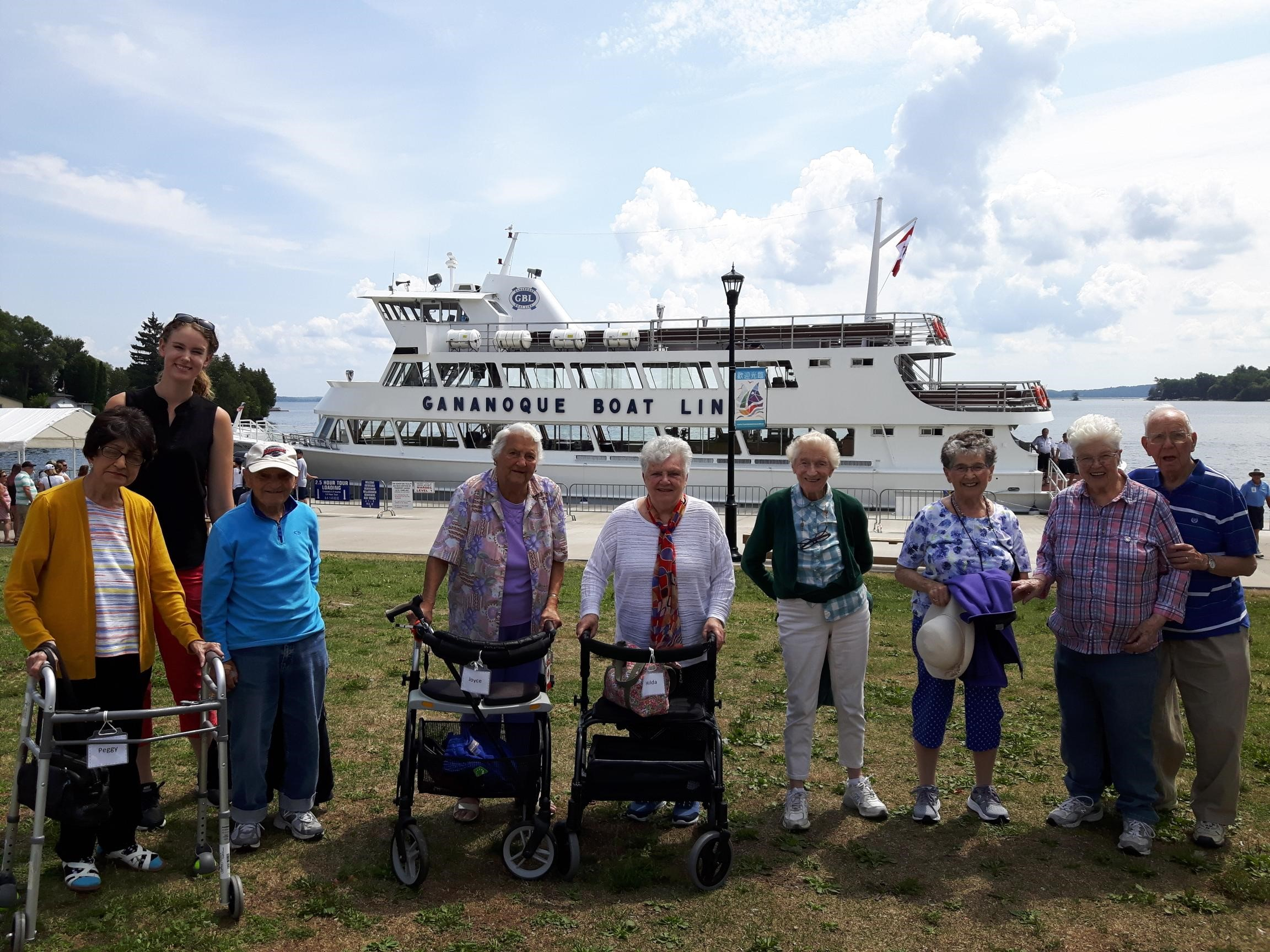 A group of seniors enjoying an outing to the Gananoque Boat Line.