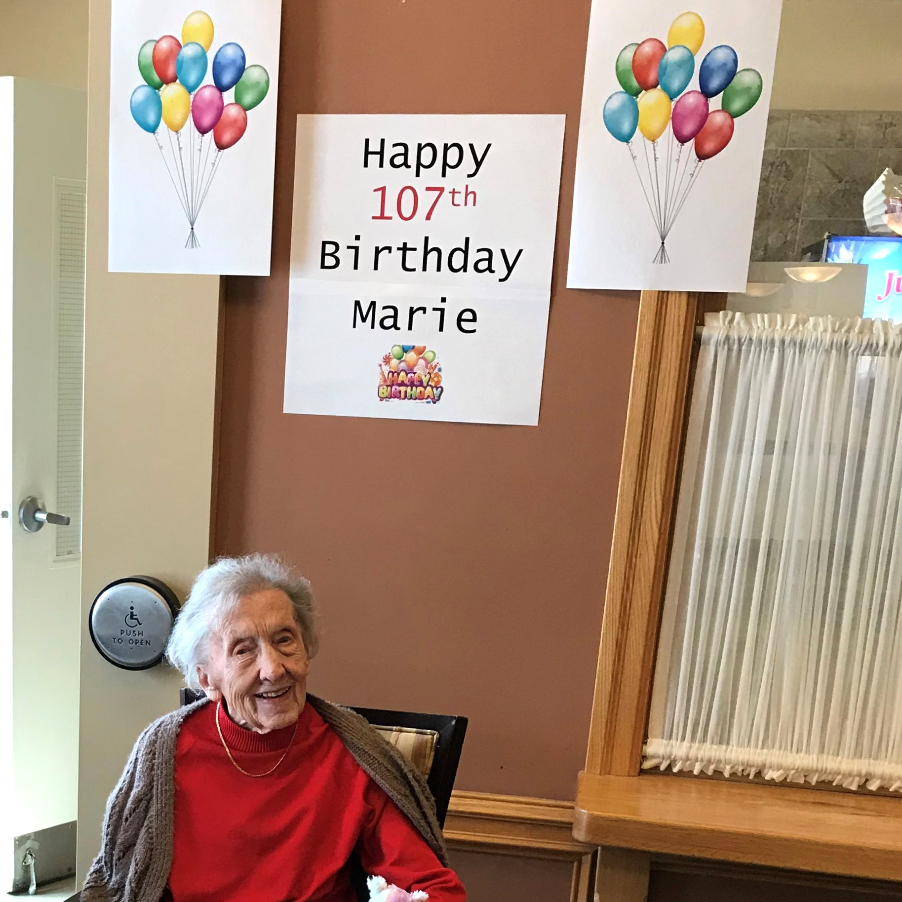 A resident celebrating her 107th birthday.