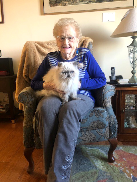 A resident and her cat.