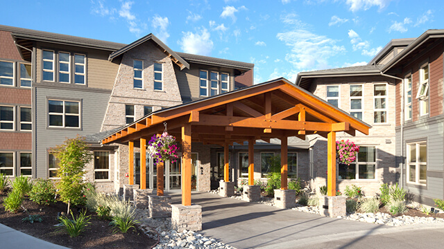 image of the front entrance of Lakeview Lodge Care Community in West Kelowna