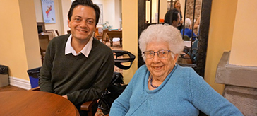 Current Barrie Mayor Jeff Lehman chats with former Barrie mayor Janice Laking at an International Women's Day event at Waterford Retirement Residence on Sunday afternoon.