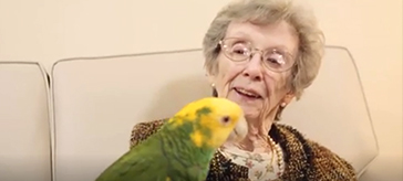 image of a female resident is having fun with the parrot.