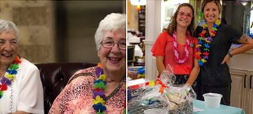 picture of residents of Kawartha Lakes Retirement Residence enjoying their Hawaiian-themed fundraiser for the Alzheimer's Society