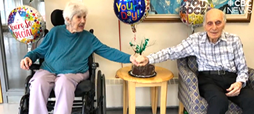 image of Mary and Donald Penna in Harmony Hills Care Community celebrating their almost 73 years of marriage.