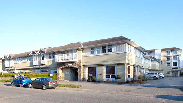image of the front entrance of The Cascades Care Community in Chilliwack