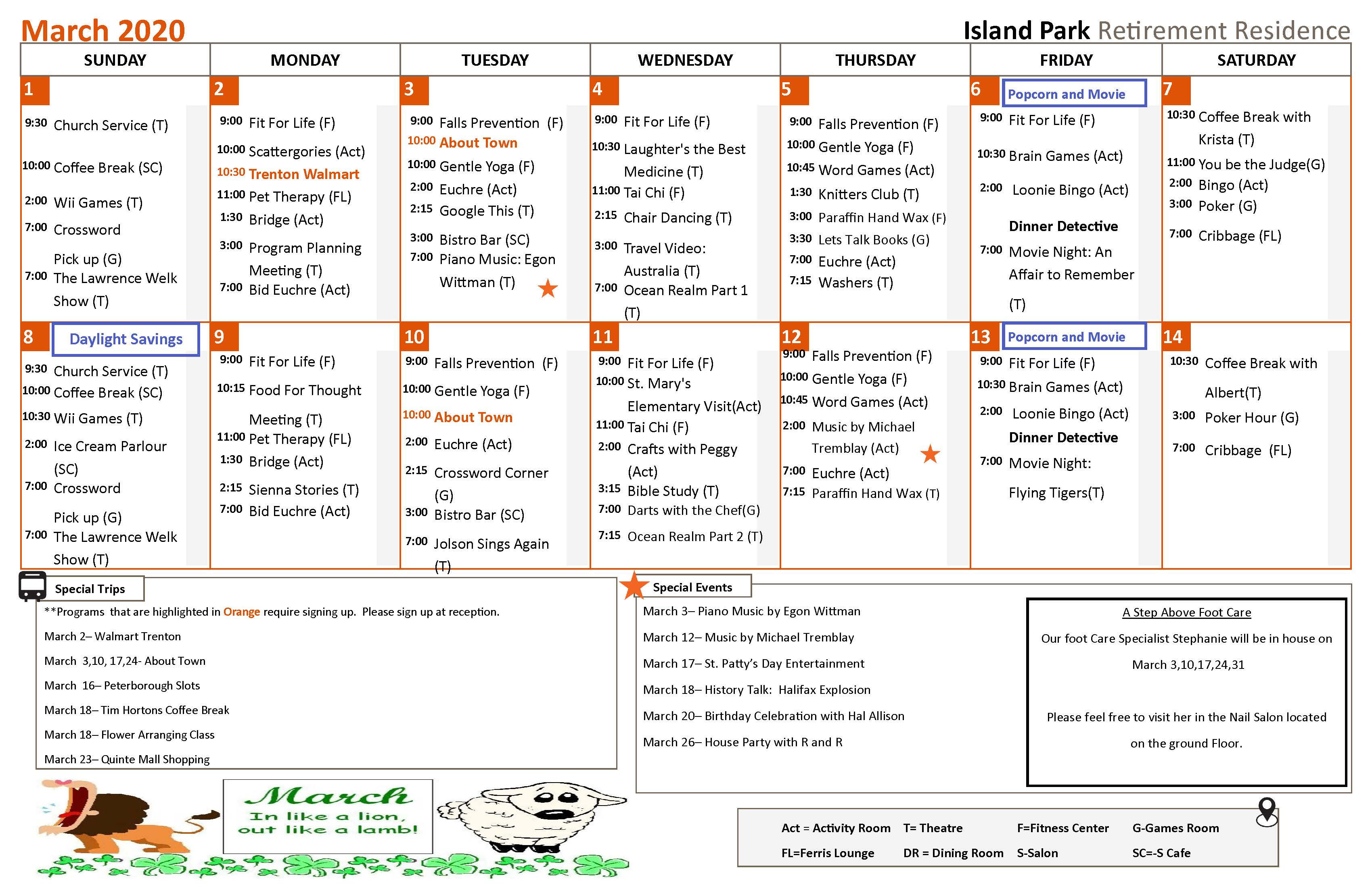 This is an image showing our monthly calendar of activities. If you have a question about our daily activities on a certain day, or about one of our programs, kindly give us a call at 705-653-3100. We would be happy to assist you in any way we can.