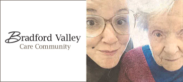 image of Dana Franzgrote and her grandmother Rosemary Cummins accompany by the logo of Bradford Valley Care Community