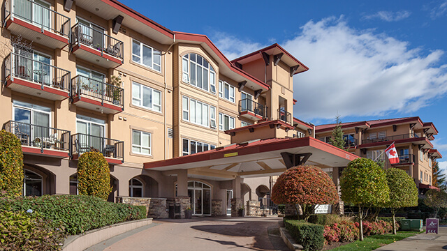 image of the front entrance of Astoria Retirement Residence in Port Coquitlam