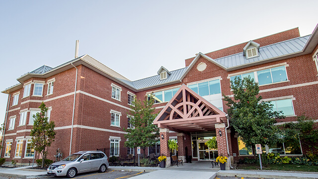 image of front entrance of Woodhall Park Care Community in Brampton