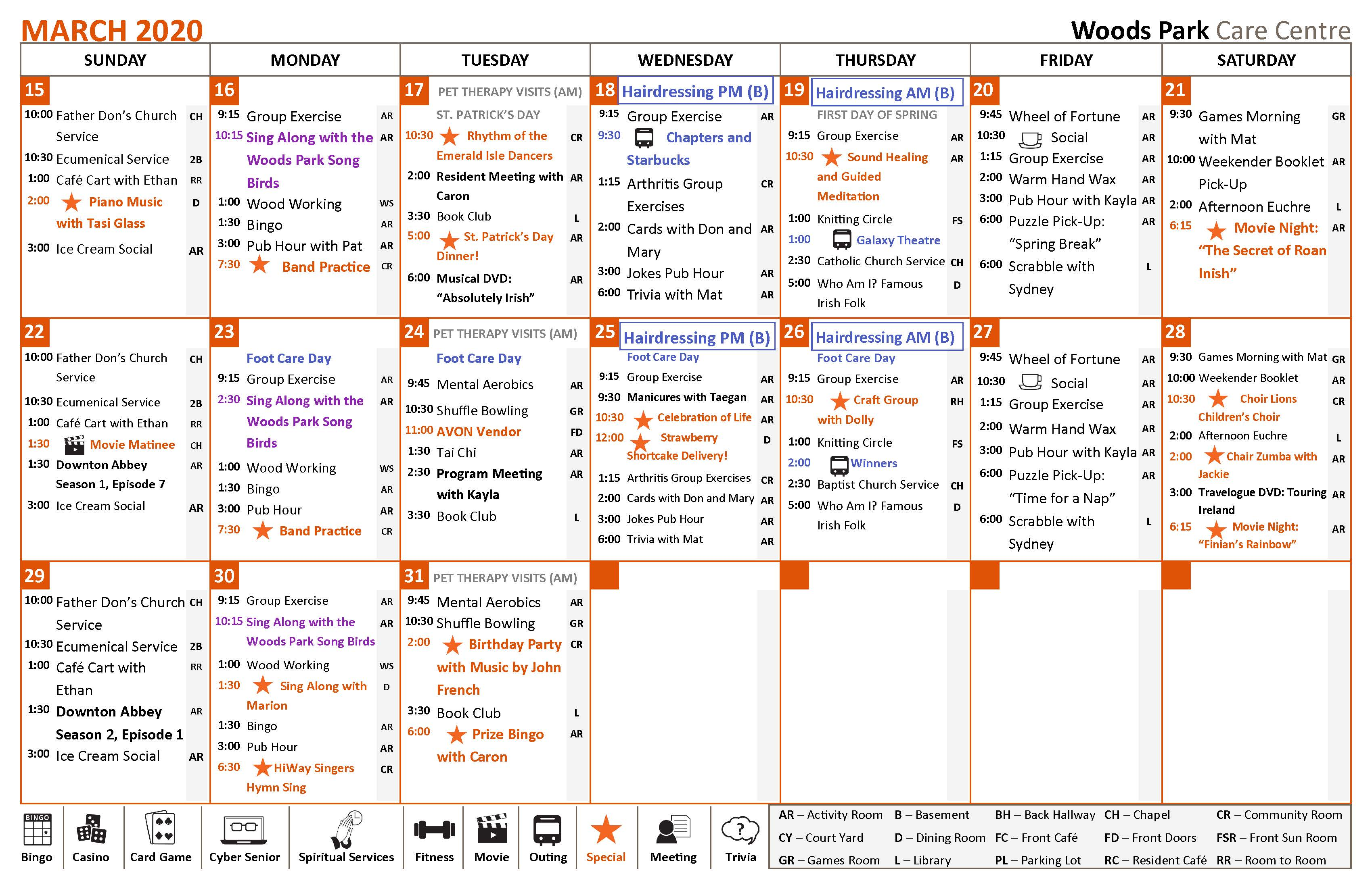 This is an image showing our monthly calendar of activities. If you have a question about our daily activities on a certain day, or about one of our programs, kindly give us a call at 705-739-6881. We would be happy to assist you in any way we can.