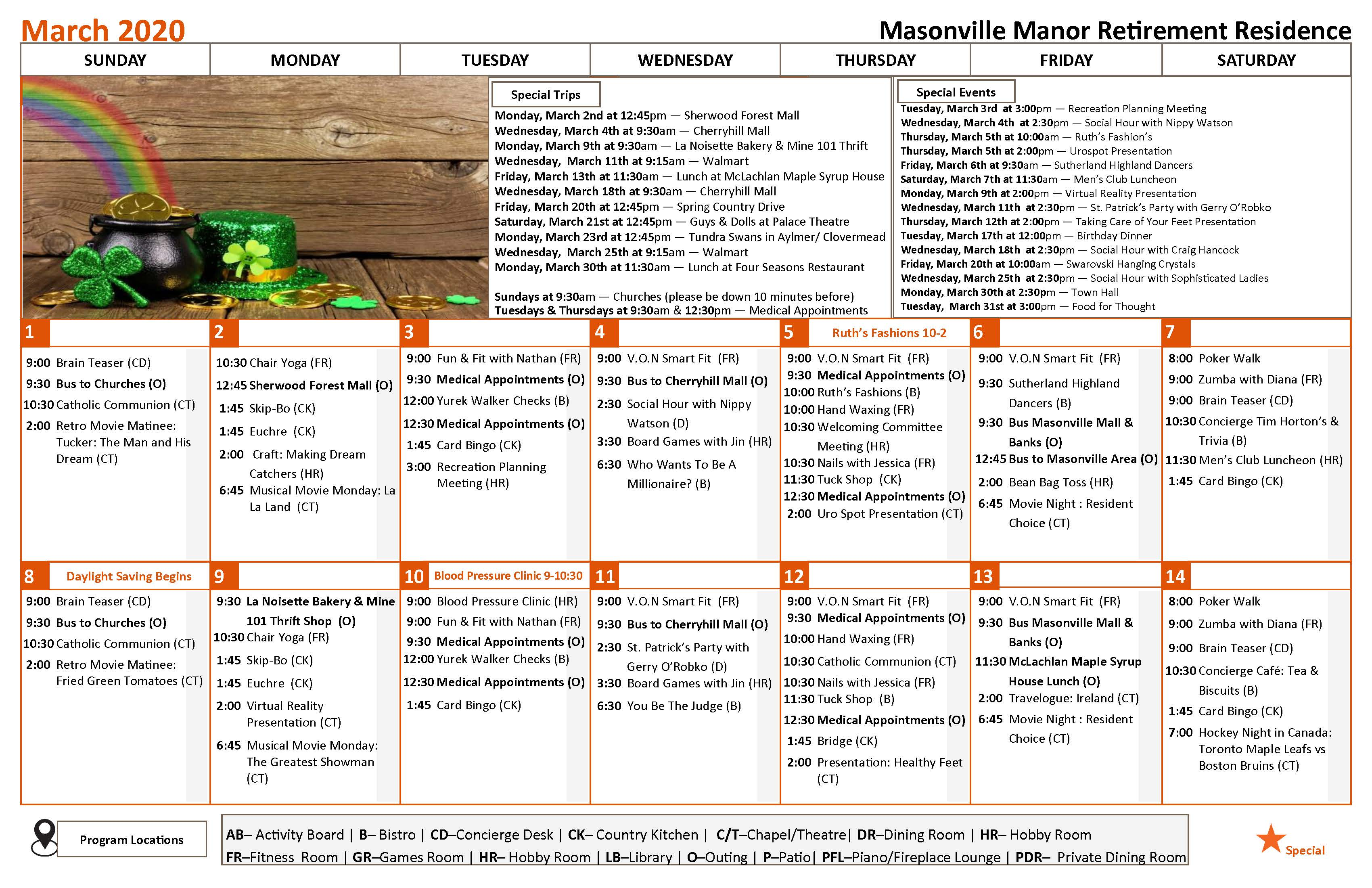 This is an image showing our monthly calendar of activities. If you have a question about our daily activities on a certain day, or about one of our programs, kindly give us a call at 519-663-0220. We would be happy to assist you in any way we can.