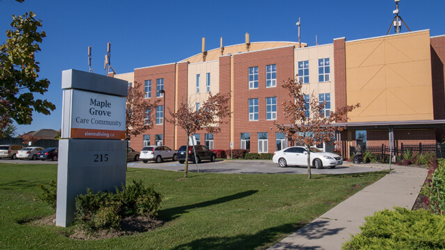 image of front entrance of Maple Grove Care Community in Brampton
