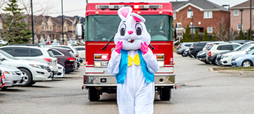image of the Easter Bunny arrives at Bradford Valley Care Community.