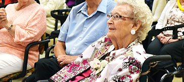 picture of Frances Kneeshaw, with son Ron and daughter-in-law Pat, at her 105th Birthday Party on Aug. 14.