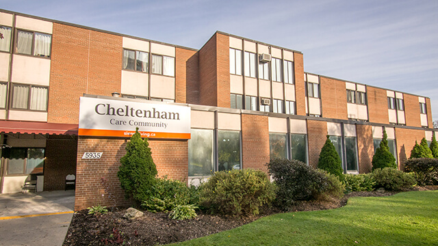 image of front entrance of Cheltenham Care Community in Toronto