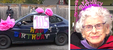 image of Rose Helliwell and one of the drive-by parade cars with birthday wishes signages